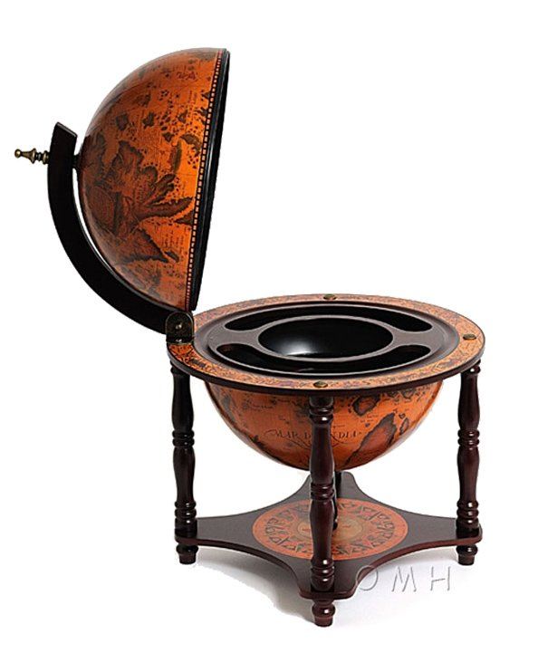 Old World table globe bar with nautical globe - open, front view image