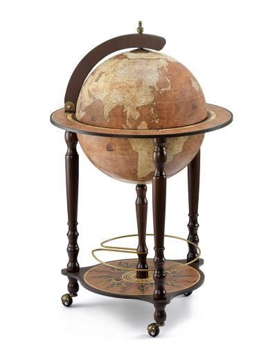 Da Vinci bar globe cabinet - rust color, product photo, closed