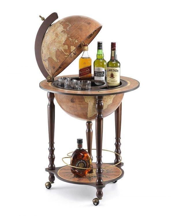 Da VinciItalian bar globe cabinet - rust color, product photo, open