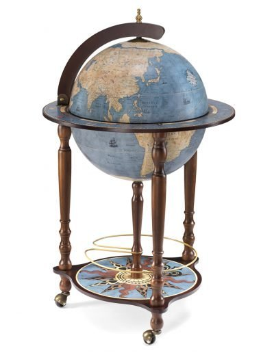 Da Vinci bar globe cabinet - blue dust, closed photo