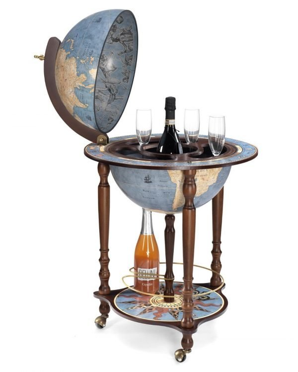 Da Vinci bar globe cabinet - blue dust, large photo