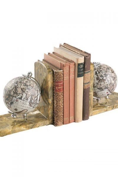 Image of alabaster marble globe bookends