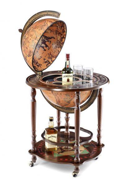 Image of the classic globe bar Minosse - open