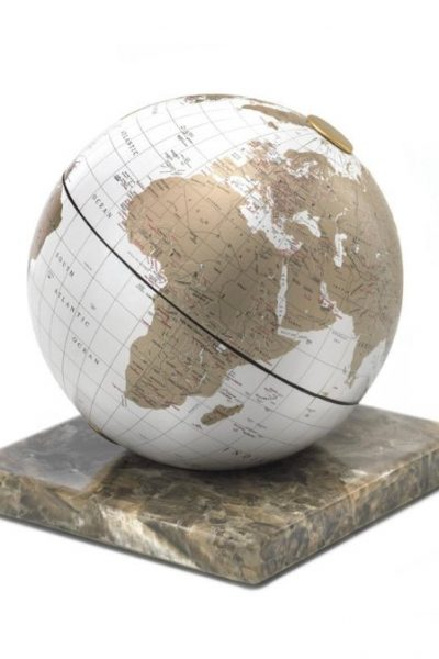 White & gold desk globe on marble base - product photo