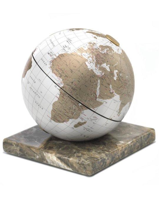 White & gold desk globe on marble base - product photo