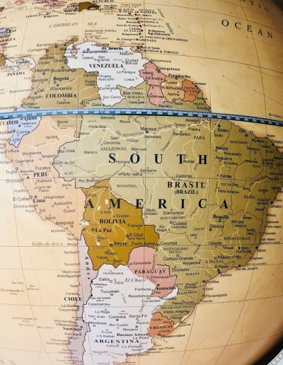 Close-up photo of South America on world map of the Versus extra large contemporary world globe.