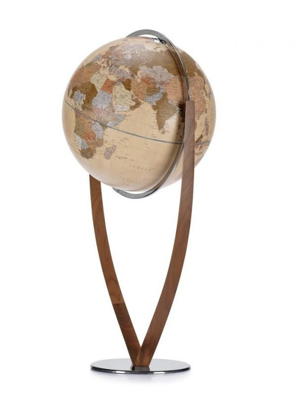 Product photo of Vertigo, an extra large, modern world globe. Apricot color.