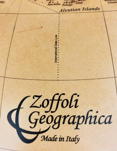 Photo of Zoffoli Geographica brand name on Versus globe map.