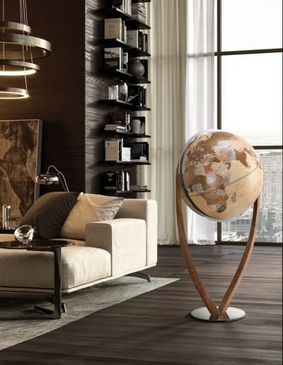 Studio photo of the Vertigo extra large modern world globe with modern map.