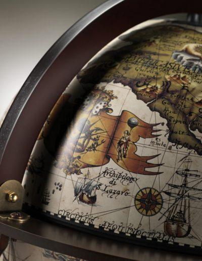 Close-up photo of the Vanesio ivory globe & Italian craftsmanship
