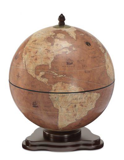Galileo table globe bar - rust, product photo, closed