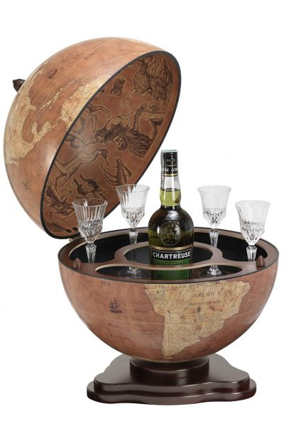 Galileo small table top globe bar - rust, product photo, open