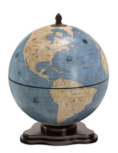 Galileo table globe bar - blue dust, product photo, closed