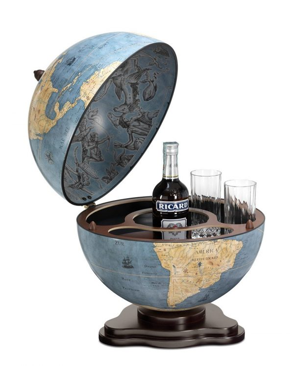 Galileo tabletop globe bar - blue dust, product photo, open
