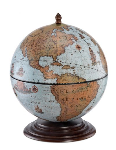 Fine vintage table globe bar Nettuno - blue ocean, closed, product photo