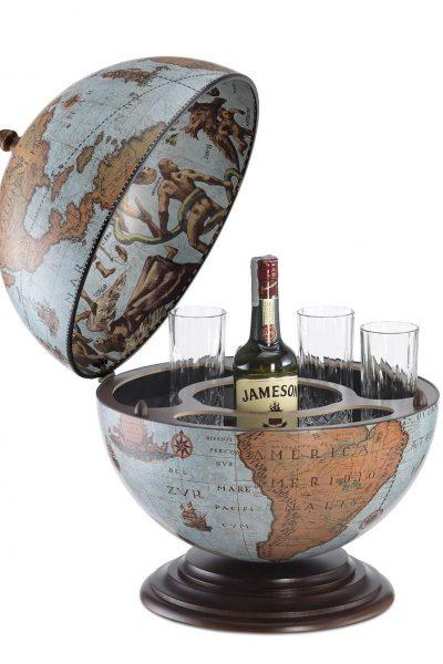 Fine vintage table top bar globe Nettuno - blue ocean, open, product photo