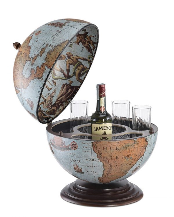 Fine vintage table top bar globe Nettuno - blue ocean, open, product photo
