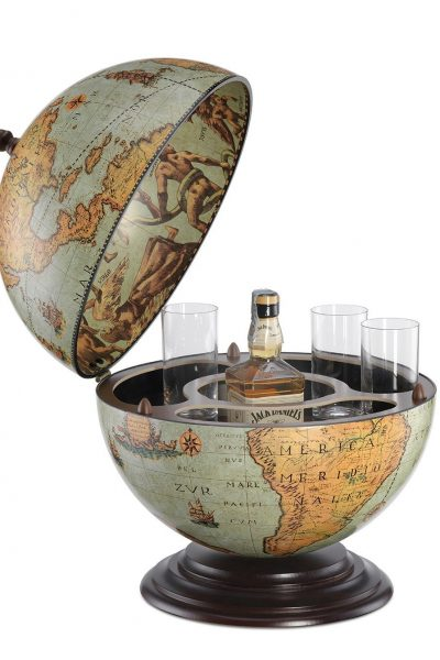 Fine vintage desk globe bar Nettuno - laguna, open, product photo