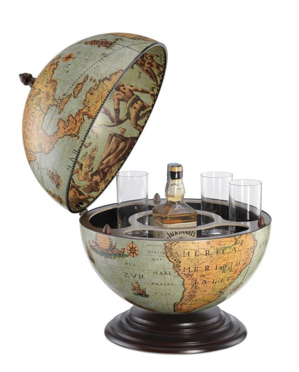 Fine vintage desk globe bar Nettuno - laguna, open, product photo