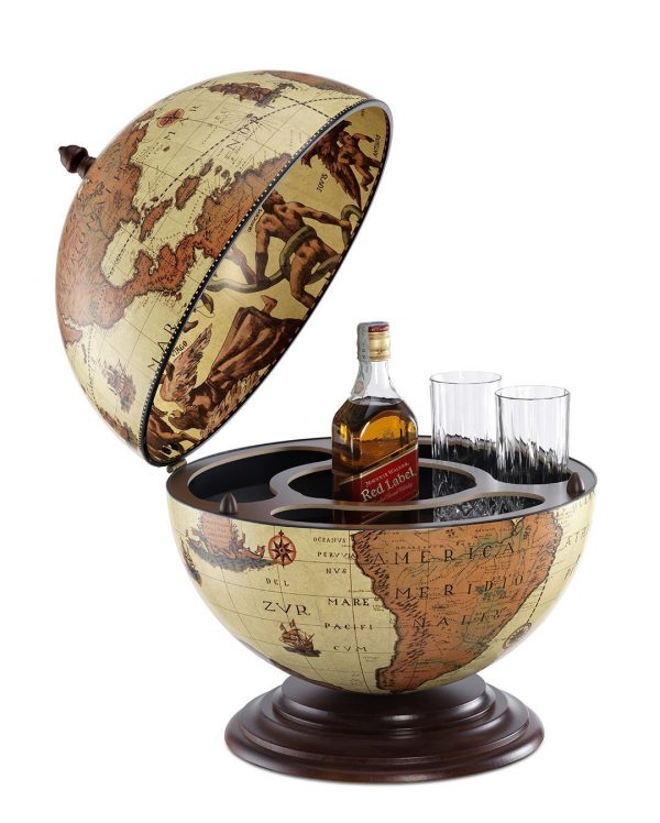 Fine vintage Nettuno Italian desk globe bar - safari, open, product photo