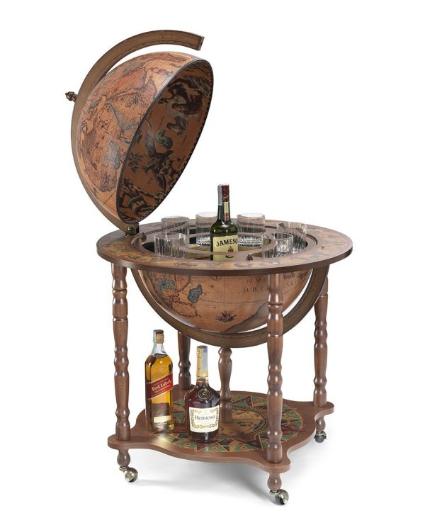 Classic color Full Meridian Globe Bar Cabinet - large photo - open