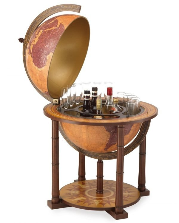 Italian Gea Taurus large world globe bar - large photo, open