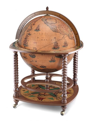 Product photo of the classic color extra large floor globe bar Caronte - closed