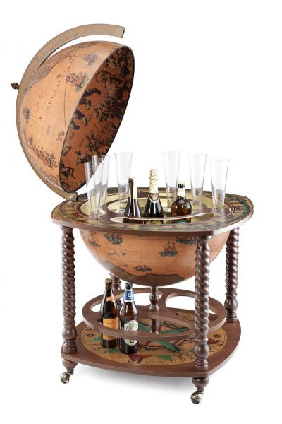 Product photo of the classic color floor-standing extra large globe bar cabinet Caronte - open