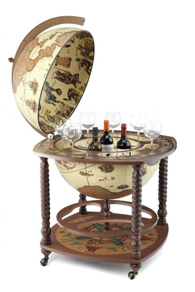 Product photo of the safari color extra large globe bar Caronte - open