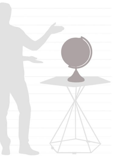 Graphic of Italian Coronelli desk globe size chart