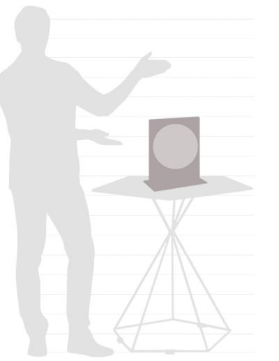 Graphic of Italian Aria desk globe size chart