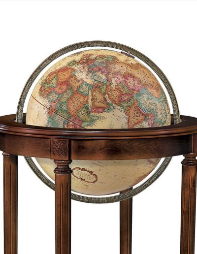 Close-up photo of the globe sphere of the Regency Raised Relief World Globe