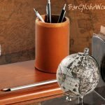 Barglobeworld.s signature image of globe desk accessories like the Pewter Desk Clock Globe with 16th Century Replica Map