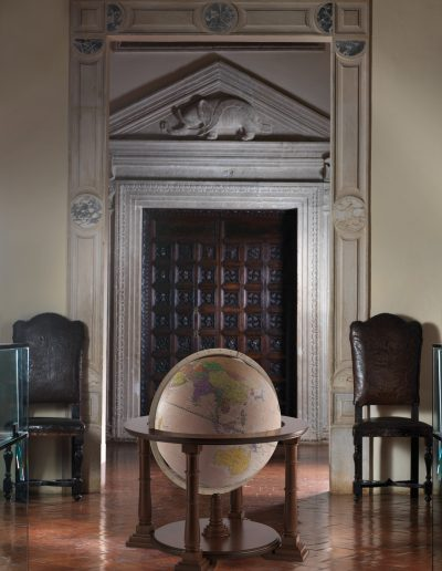 "Studion photo of the 24"" antique rose Mercatore world globe"