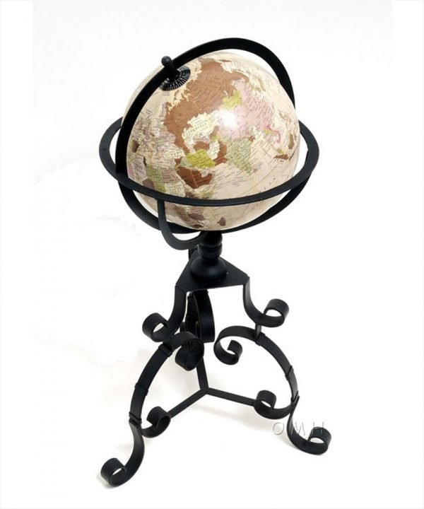 Product photo of Old World Globe on Wrought Iron Stand - top view