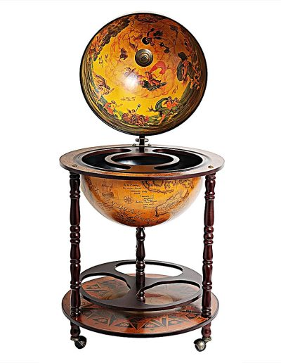 Product photo for the Davy Jones classic nautical globe bar - front view