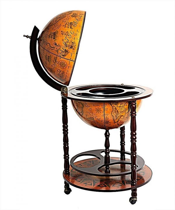 Product photo for the Davy Jones classic nautical globe bar - side view