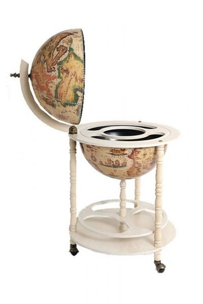 Product photo for the Davy Jones white nautical globe bar - closed