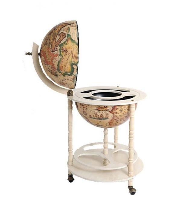 Product photo for the Davy Jones white nautical globe bar - closed