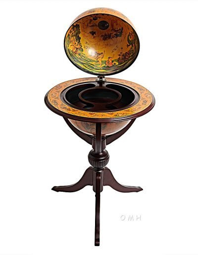 Product photo of the Old World bar globe on tripod stand - open. top front view