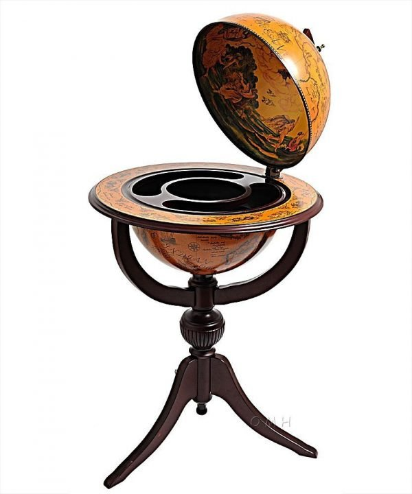 Product photo of the Old World bar globe on tripod stand - open