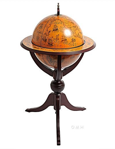Product photo of the Old World bar globe on tripod stand - closed