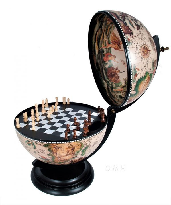Image of nautical chess globes - open