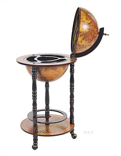 Product photo of the Old World bar globe on wheels - open
