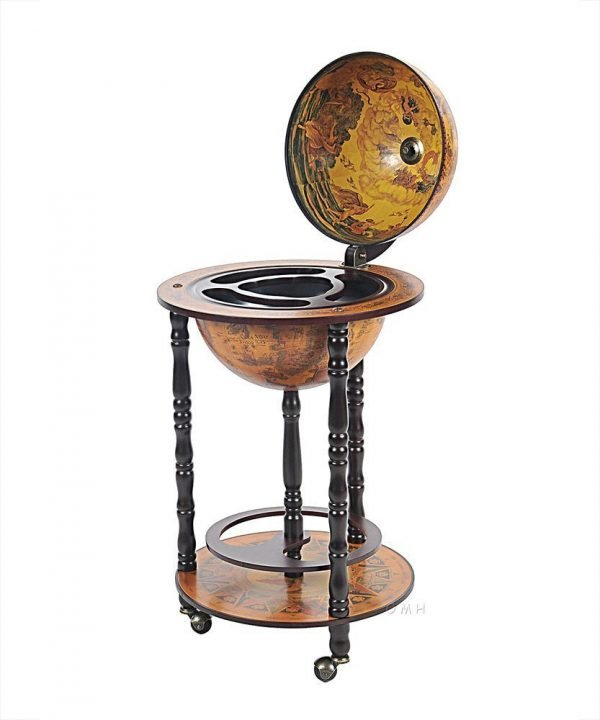 Product photo of the Old World bar globe on wheels - front view