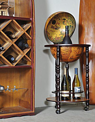 Studio photo of the Old World bar globe on wheels - open