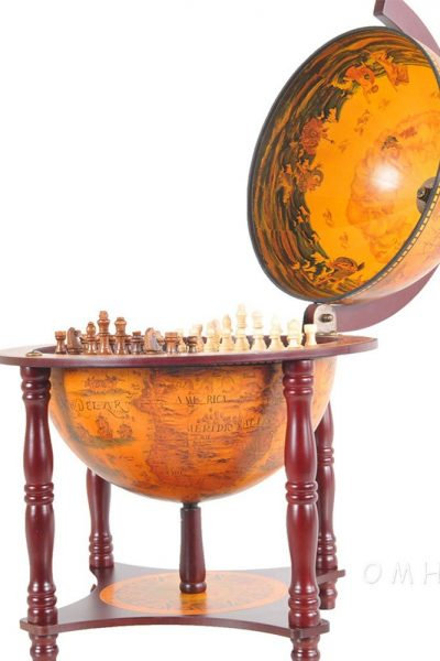 Product photos of the 4-legged globe chess set holder - open