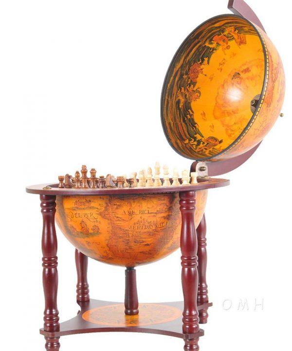 Product photos of the 4-legged globe chess set holder - open