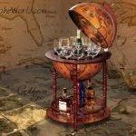 Barglobeworld.s signature image of a bar globe and anchor for nautical globes like the 4-Legged Old World Table Globe Bar