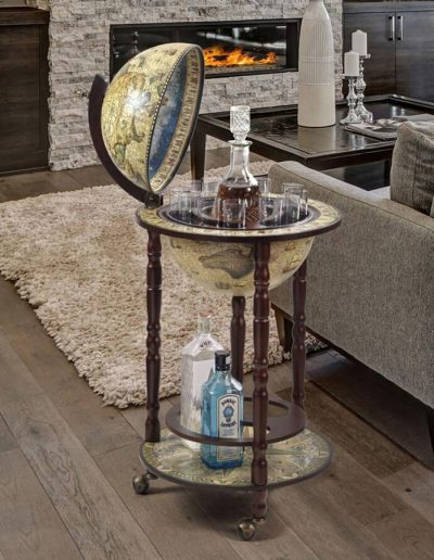 Studio photo of the crema durata Sixteenth Century globe bar Italian-style replica - open